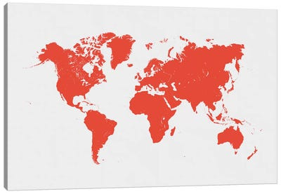 World Urban Map (Red) Canvas Art Print