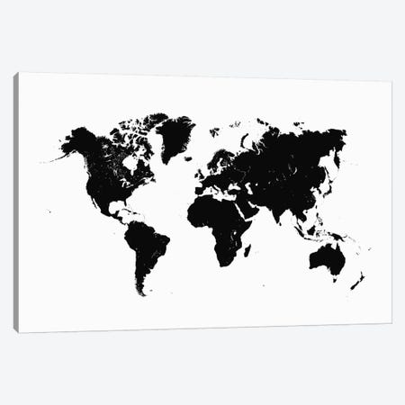 World Urban Map (White) Canvas Print #ESV446} by Urbanmap Canvas Art