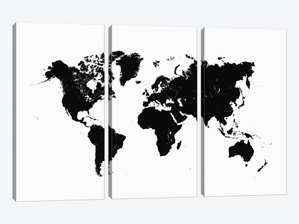 World Urban Map (White) 3-piece Canvas Artwork
