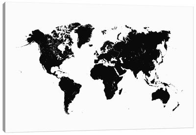 World Urban Map (White) Canvas Art Print