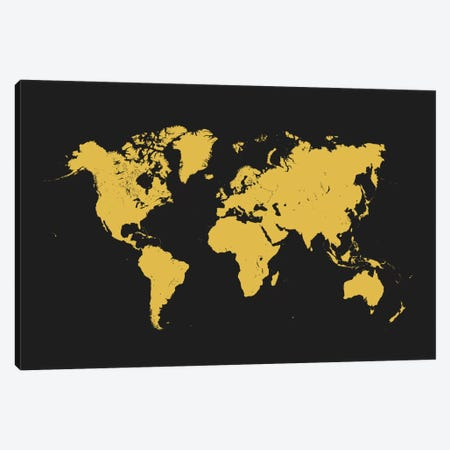 World Urban Map (Yellow) Canvas Print #ESV447} by Urbanmap Canvas Artwork