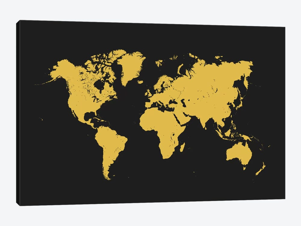World Urban Map (Yellow) 1-piece Canvas Art Print