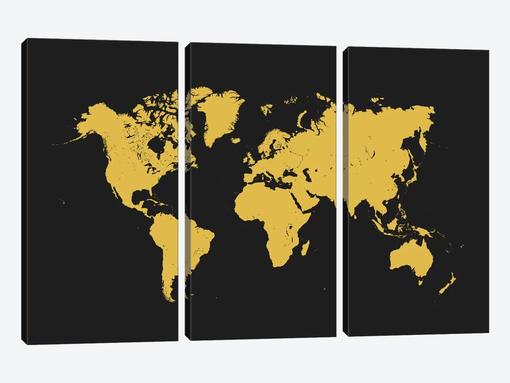 World Urban Map (Yellow) 3-piece Canvas Art Print