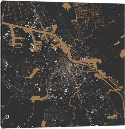 Amsterdam Urban Map (Black & Gold) Canvas Art Print
