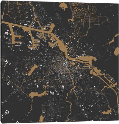 Amsterdam Urban Map (Black & Gold) Canvas Art Print