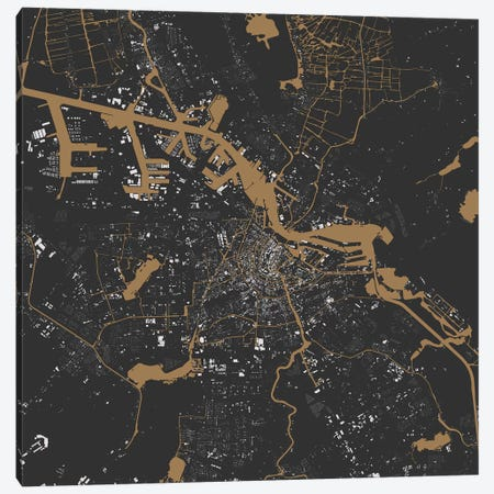 Amsterdam Urban Map (Black & Gold) 3-Piece Canvas #ESV55} by Urbanmap Canvas Artwork
