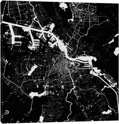 Amsterdam Urban Map (Black) Canvas Art Print