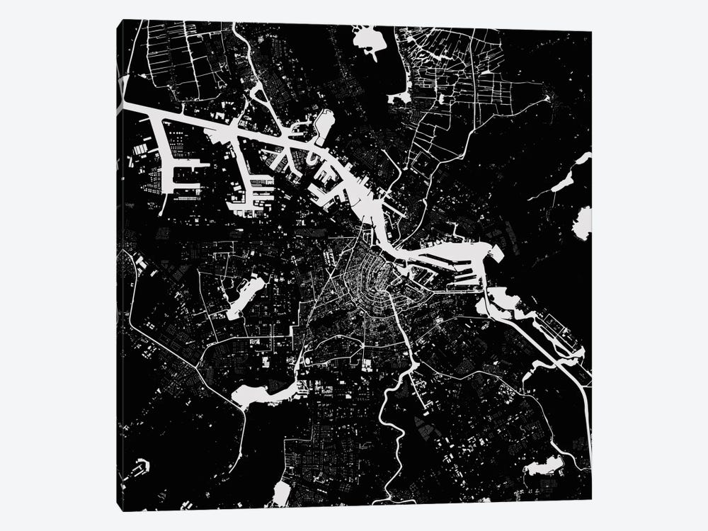 Amsterdam Urban Map (Black) by Urbanmap 1-piece Canvas Wall Art