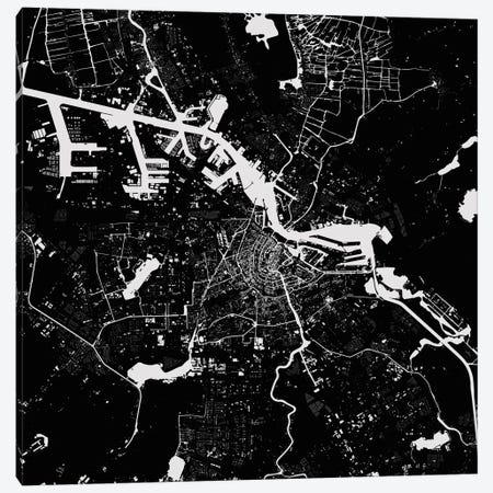 Amsterdam Urban Map (Black) Canvas Print #ESV56} by Urbanmap Canvas Artwork