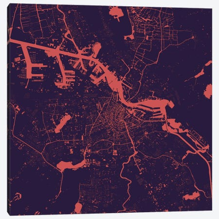 Amsterdam Urban Map (Purple Night) 3-Piece Canvas #ESV60} by Urbanmap Canvas Art