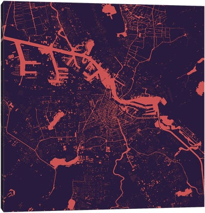 Amsterdam Urban Map (Purple Night) Canvas Art Print