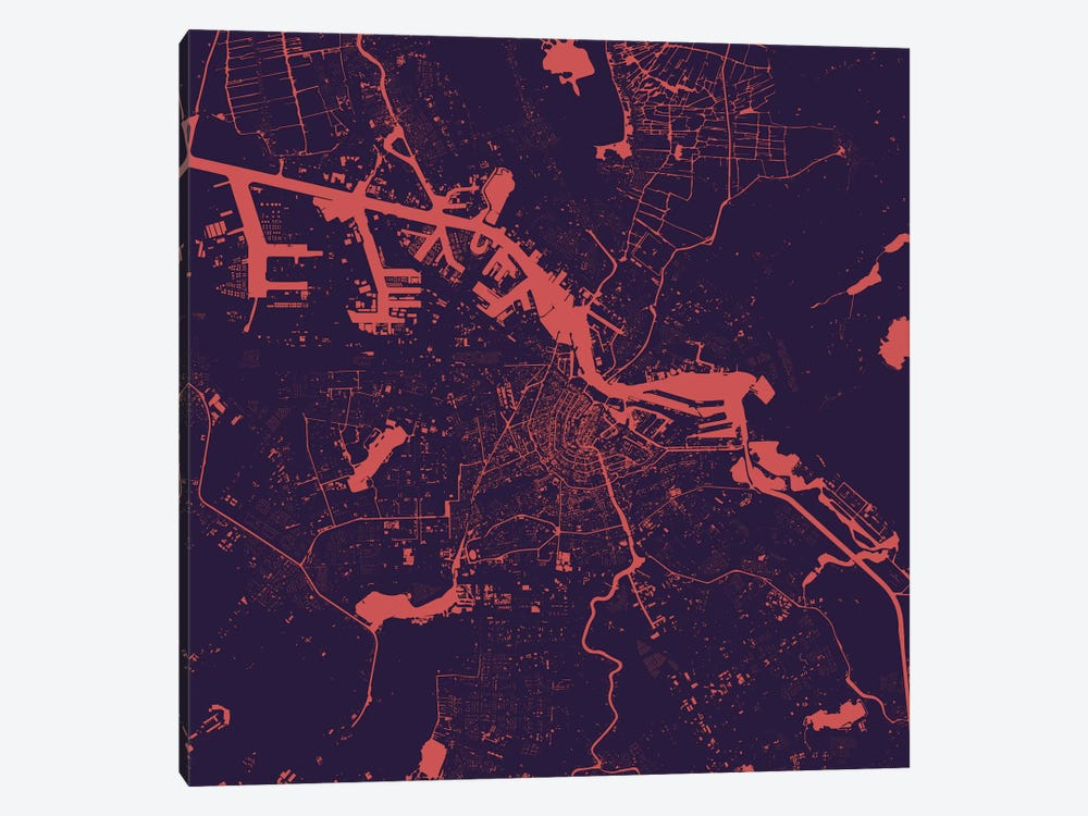 Amsterdam Urban Map (Purple Night) by Urbanmap 1-piece Canvas Art Print