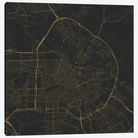 Amsterdam Urban Roadway Map (Black & Gold) 3-Piece Canvas #ESV64} by Urbanmap Art Print