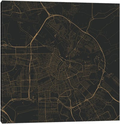 Amsterdam Urban Roadway Map (Black & Gold) Canvas Art Print