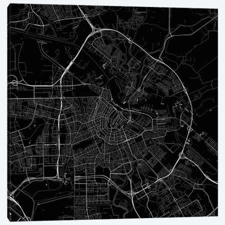 Amsterdam Urban Roadway Map (Black) Canvas Print #ESV65} by Urbanmap Art Print