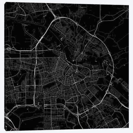 Amsterdam Urban Roadway Map (Black) Canvas Print #ESV65} by Urbanmap Art Print
