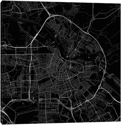 Amsterdam Urban Roadway Map (Black) Canvas Art Print