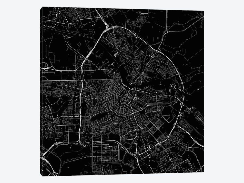 Amsterdam Urban Roadway Map (Black) by Urbanmap 1-piece Canvas Art
