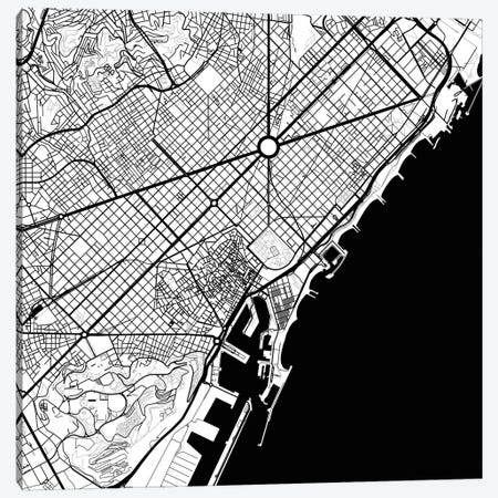 Barcelona Urban Map (Black) 3-Piece Canvas #ESV73} by Urbanmap Canvas Print