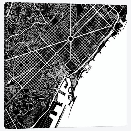 Barcelona Urban Map (White) Canvas Print #ESV80} by Urbanmap Canvas Art
