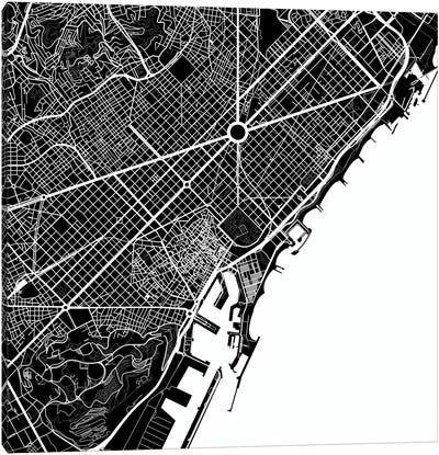 Barcelona Urban Map (White) Canvas Print #ESV80