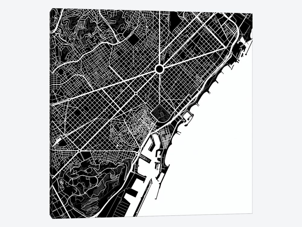 Barcelona Urban Map (White) by Urbanmap 1-piece Art Print