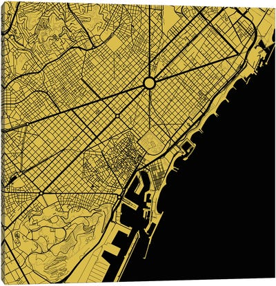 Barcelona Urban Map (Yellow) Canvas Art Print