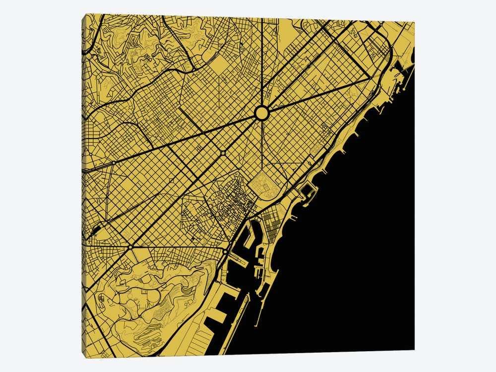 Barcelona Urban Map (Yellow) by Urbanmap 1-piece Canvas Art