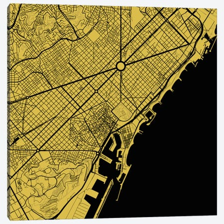 Barcelona Urban Map (Yellow) 3-Piece Canvas #ESV81} by Urbanmap Canvas Artwork