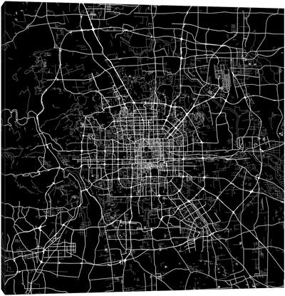 Beijing Urban Map (Black) Canvas Art Print