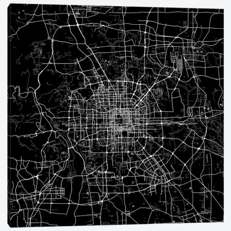 Beijing Urban Map (Black) 3-Piece Canvas #ESV82} by Urbanmap Canvas Artwork