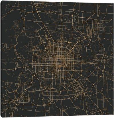 Beijing Urban Map (Gold) Canvas Art Print
