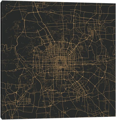 Beijing Urban Map (Gold) Canvas Art Print