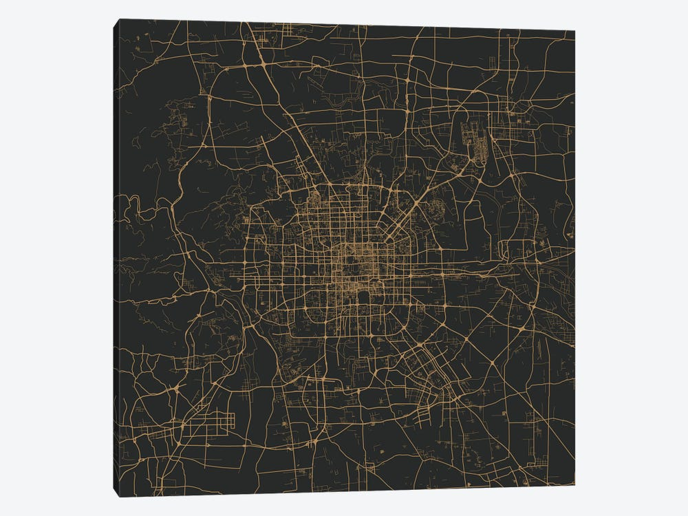 Beijing Urban Map (Gold) 1-piece Canvas Print