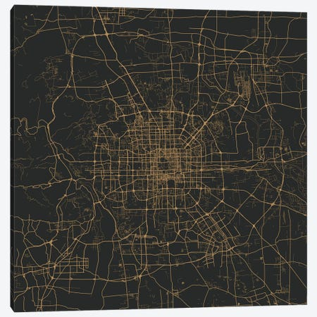 Beijing Urban Map (Gold) 3-Piece Canvas #ESV84} by Urbanmap Canvas Print