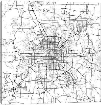 Beijing Urban Map (White) Canvas Art Print