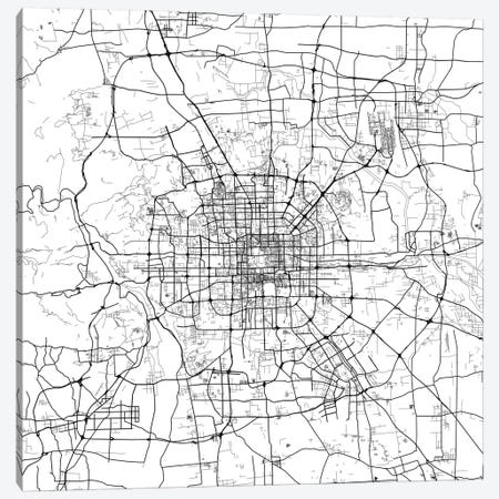 Beijing Urban Map (White) 3-Piece Canvas #ESV89} by Urbanmap Canvas Artwork