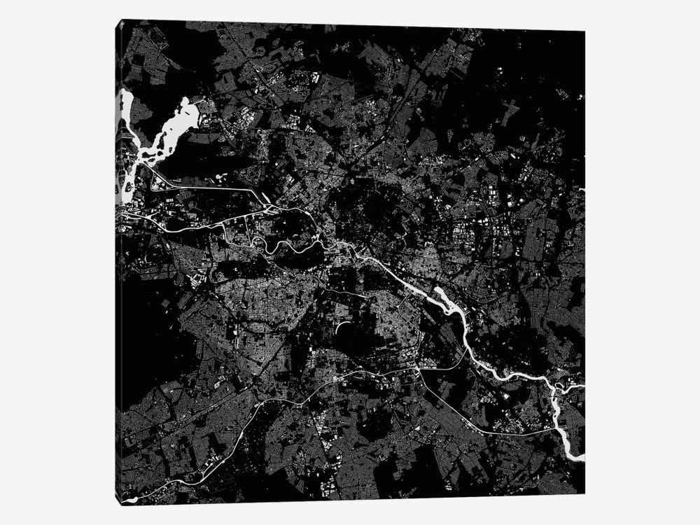 Berlin Urban Map (Black) by Urbanmap 1-piece Canvas Art Print