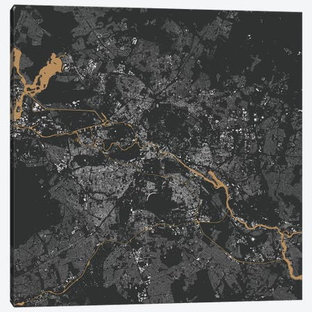 Berlin Urban Map (Gold) Canvas Print #ESV93} by Urbanmap Canvas Print