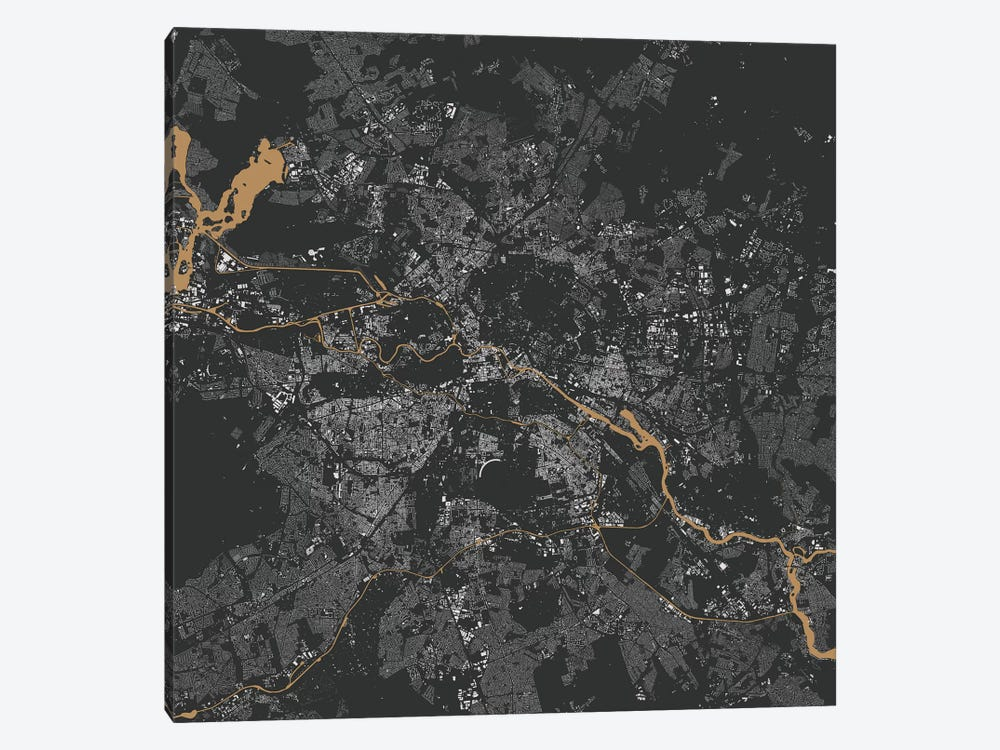Berlin Urban Map (Gold) by Urbanmap 1-piece Canvas Art Print