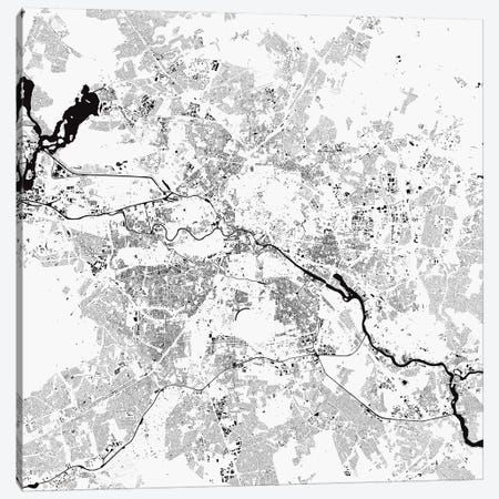 Berlin Urban Map (White) Canvas Print #ESV98} by Urbanmap Canvas Print