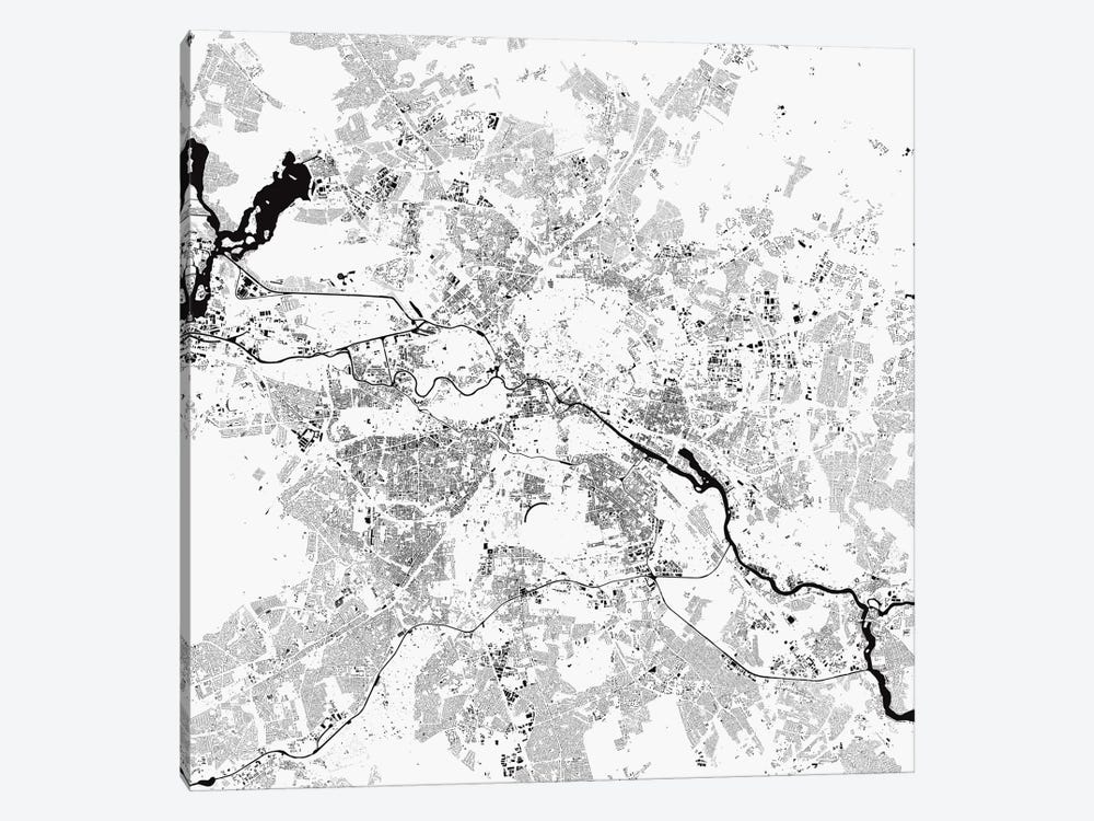 Berlin Urban Map (White) by Urbanmap 1-piece Canvas Art