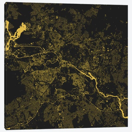 Berlin Urban Map (Yellow) Canvas Print #ESV99} by Urbanmap Art Print