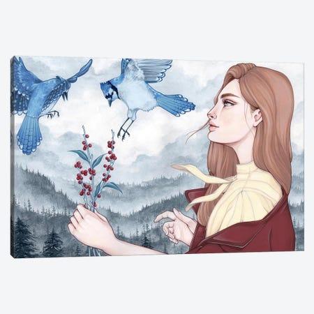 Blue Jays Canvas Print #ETA5} by Etara Canvas Art Print