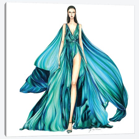 Zuhair Murad 3-Piece Canvas #ETR69} by Eris Tran Canvas Art Print