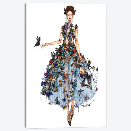 Butterfly Dress II Canvas Print #ETR6} by Eris Tran Canvas Print