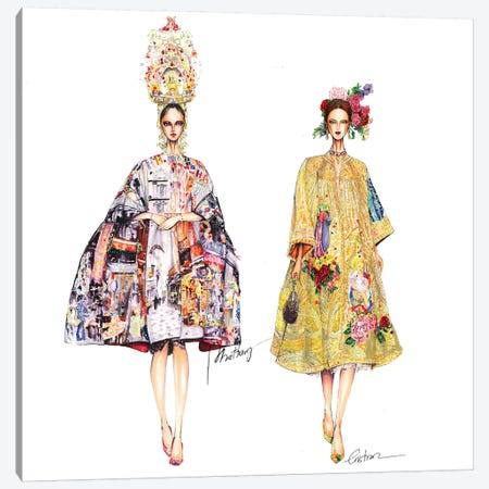 Couple Dolce Gabbana 3-Piece Canvas #ETR8} by Eris Tran Canvas Wall Art