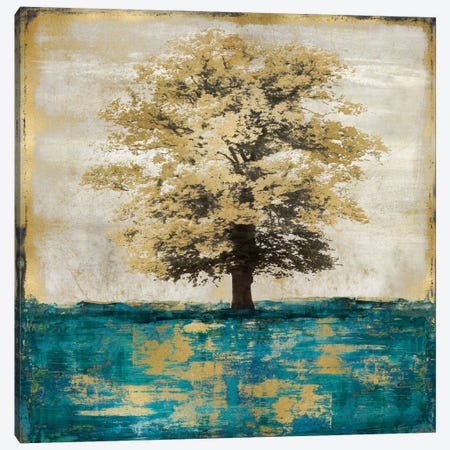 Stately - Aqua With Gold Canvas Print #ETU11} by Eric Turner Canvas Art Print