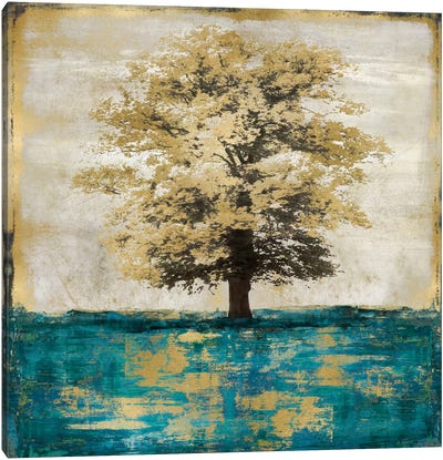 Stately - Aqua With Gold Canvas Print #ETU11