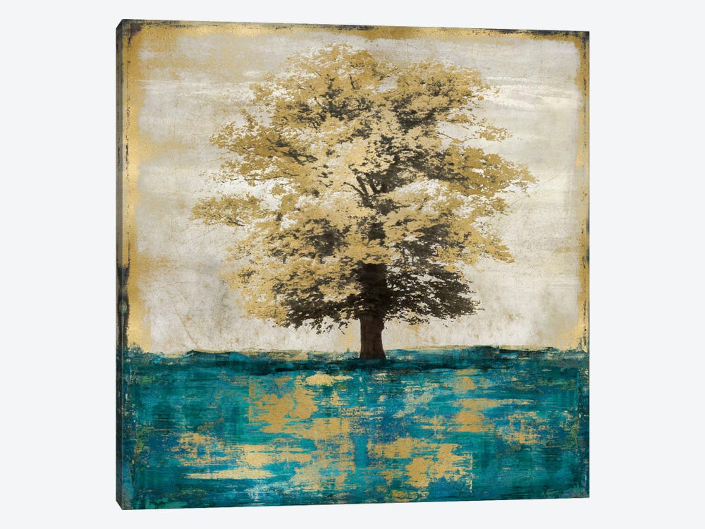 Stately - Aqua With Gold by Eric Turner 1-piece Art Print